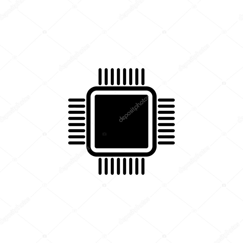 computers processor chip silhouette flat design vector illustration vector by mike_green
