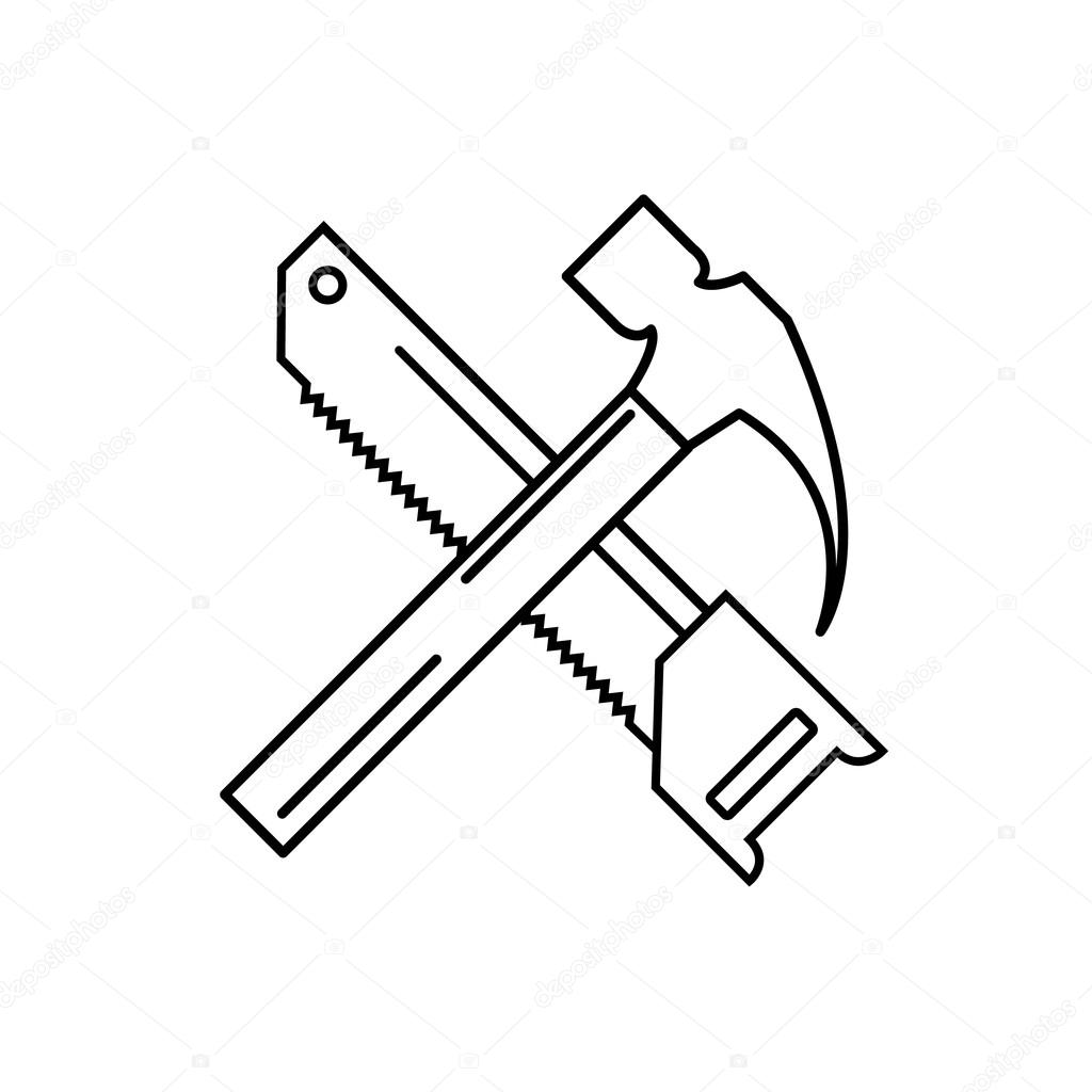 Hammer and saw linear icon. Carpenter service. Vector ...