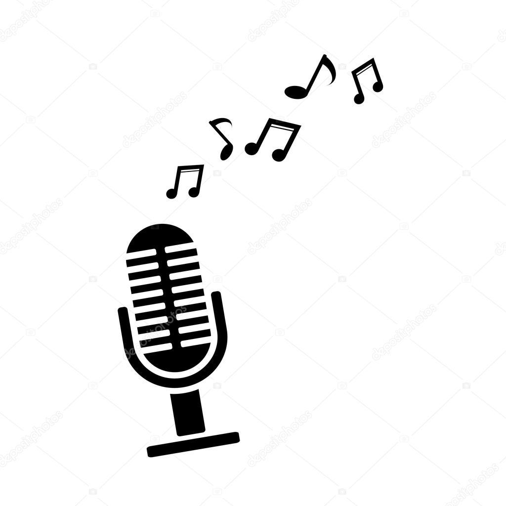 micr u00f3fono con notas musicales ilustraci u00f3n de vector music notes vector free music notes vector download