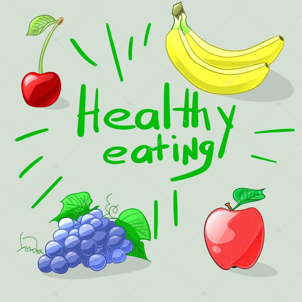 Healthy Eating Set Of Colorful Cartoon Fruits Vector Illustrat