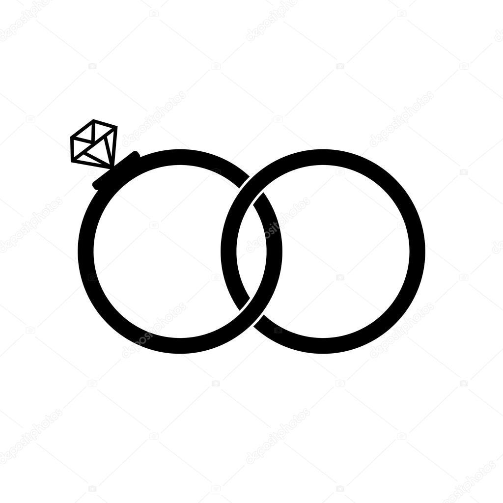 Anéis De Casamento Assinar ícone. Símbolo De Noivado