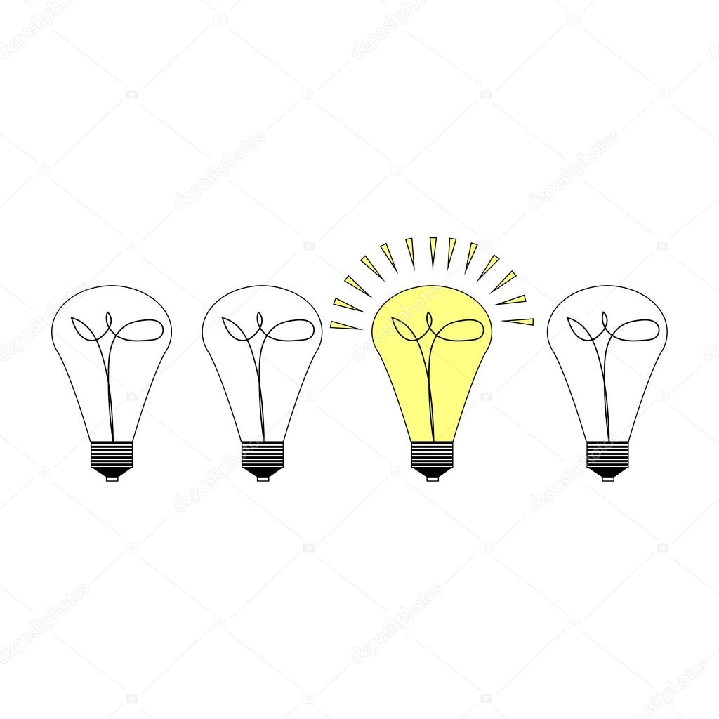 Creative Light Bulb Symbol With Gear Sign And Difference Concept