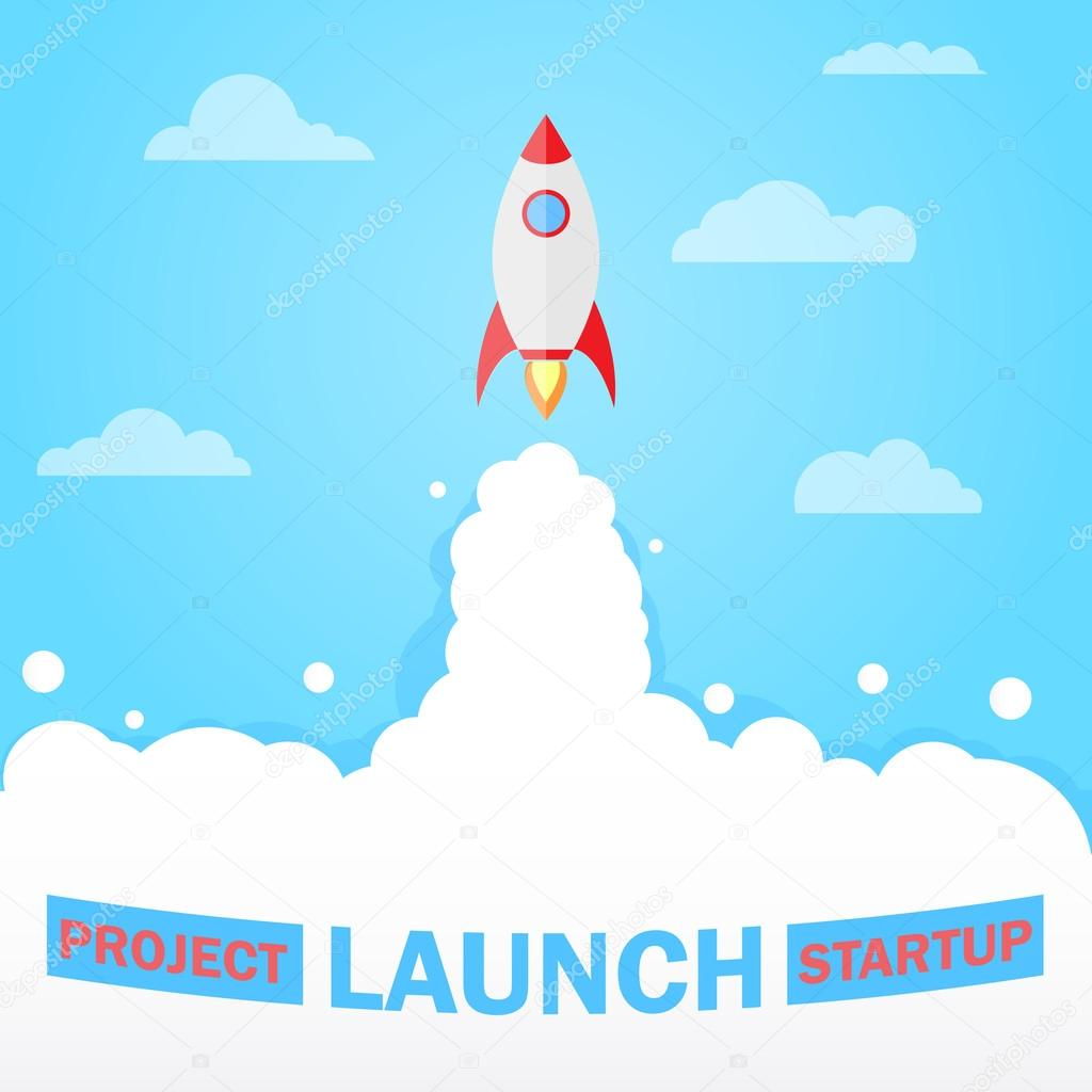 flat design modern vector illustration concept of new business project start up blast off rocket launch icon premium vector in adobe illustrator ai ai format encapsulated postscript eps eps format wdrfree