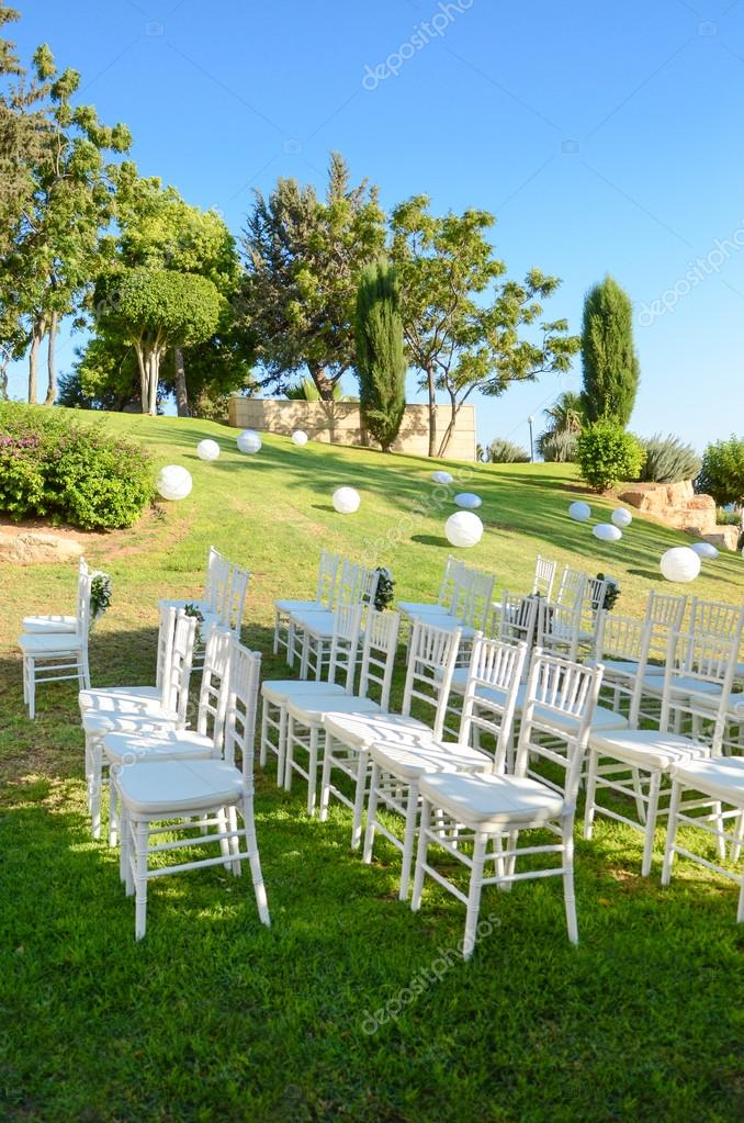 Outdoor Wedding Reception Wedding Decorations Stock Photo