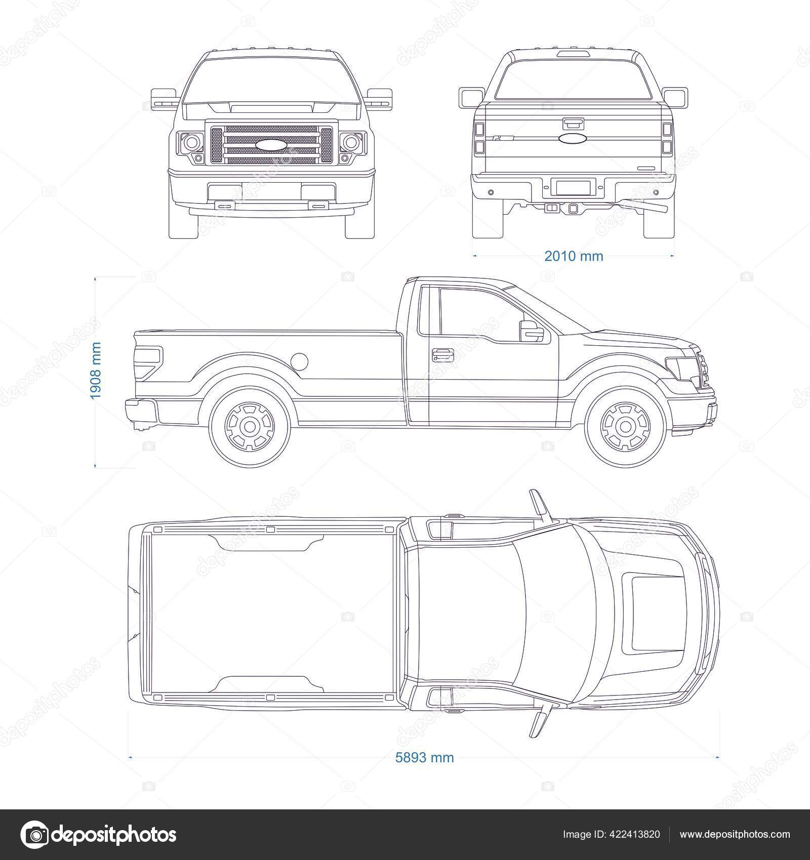 Pickup Truck Vector Template Truck Blueprint 4x4 Car White Background Vector Image By C Cloudb Vector Stock 422413820