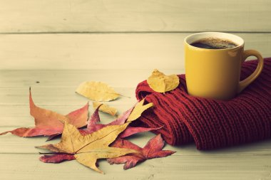 cup of coffee on scarf and leaves