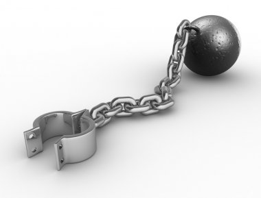 Iron ball with chain and shackle