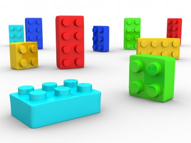 Colorful plastic toy blocks
