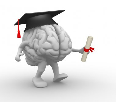 Brain with graduation cap and diploma