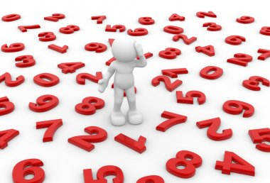 Character standing on numbers