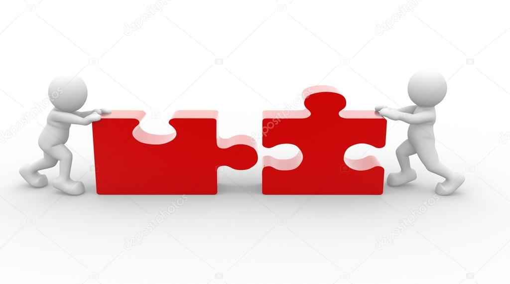 People with piece of puzzle