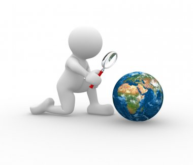 Man with magnifying glass and earth globe