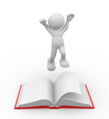 Man jumping near book