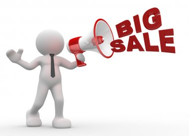 Person with megaphone and words Big Sale