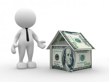 Person with house of U.S dollars