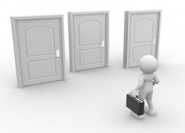 Person with briefcase near closed doors