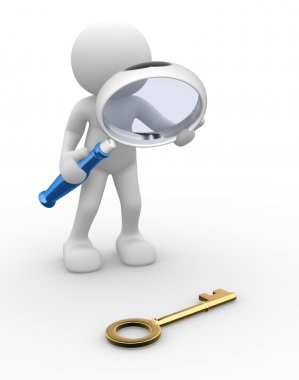 Person with magnifying glass looking at key