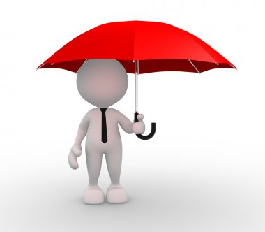 Person under red umbrella