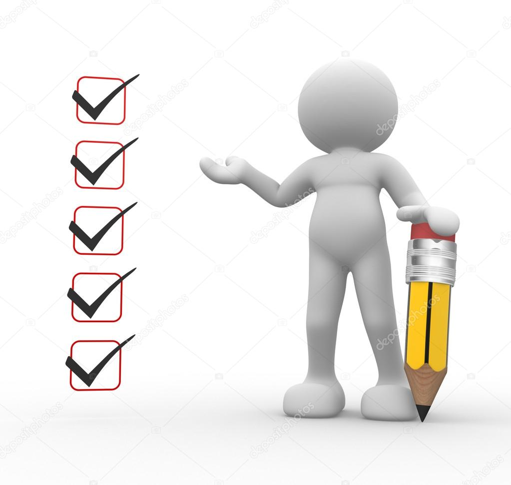 Persona con lápiz y lista de verificación — Foto de stock ...