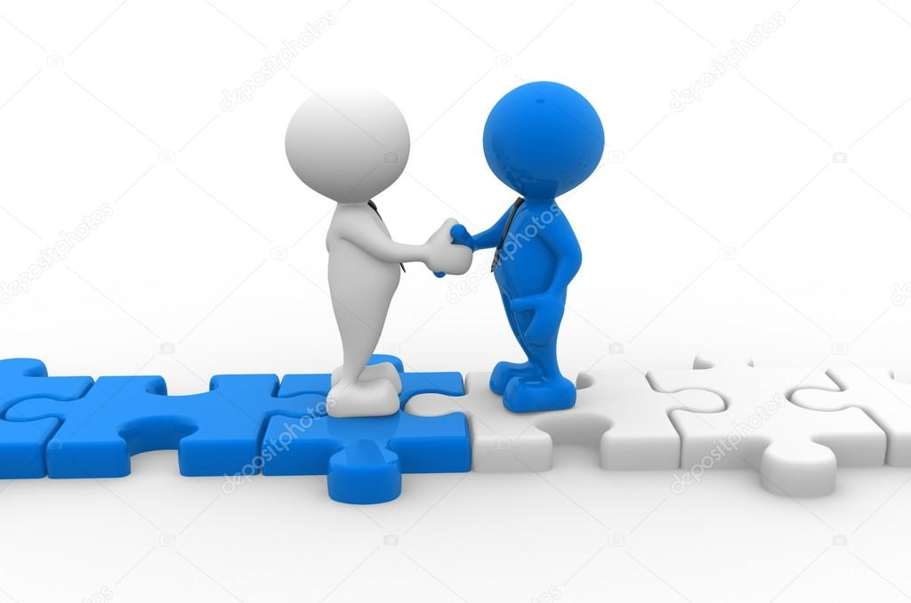 men shaking hands on puzzle pieces stock photo orlaimagen 60639165