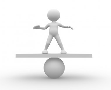 3d man in equilibrium on a ball.