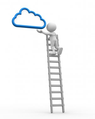 3d people - man with a ladder and cloud. Aspiration stock vector