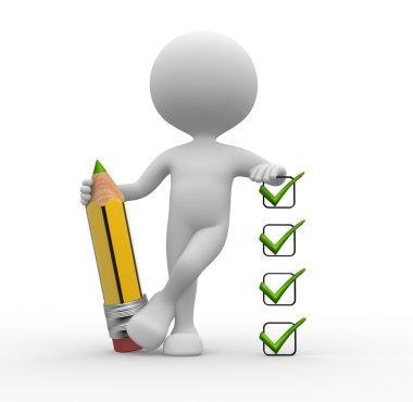3d man and a checklist.