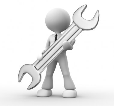 3d man with a wrench in hands stock vector