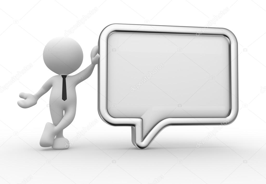 Person with blank speech bubble