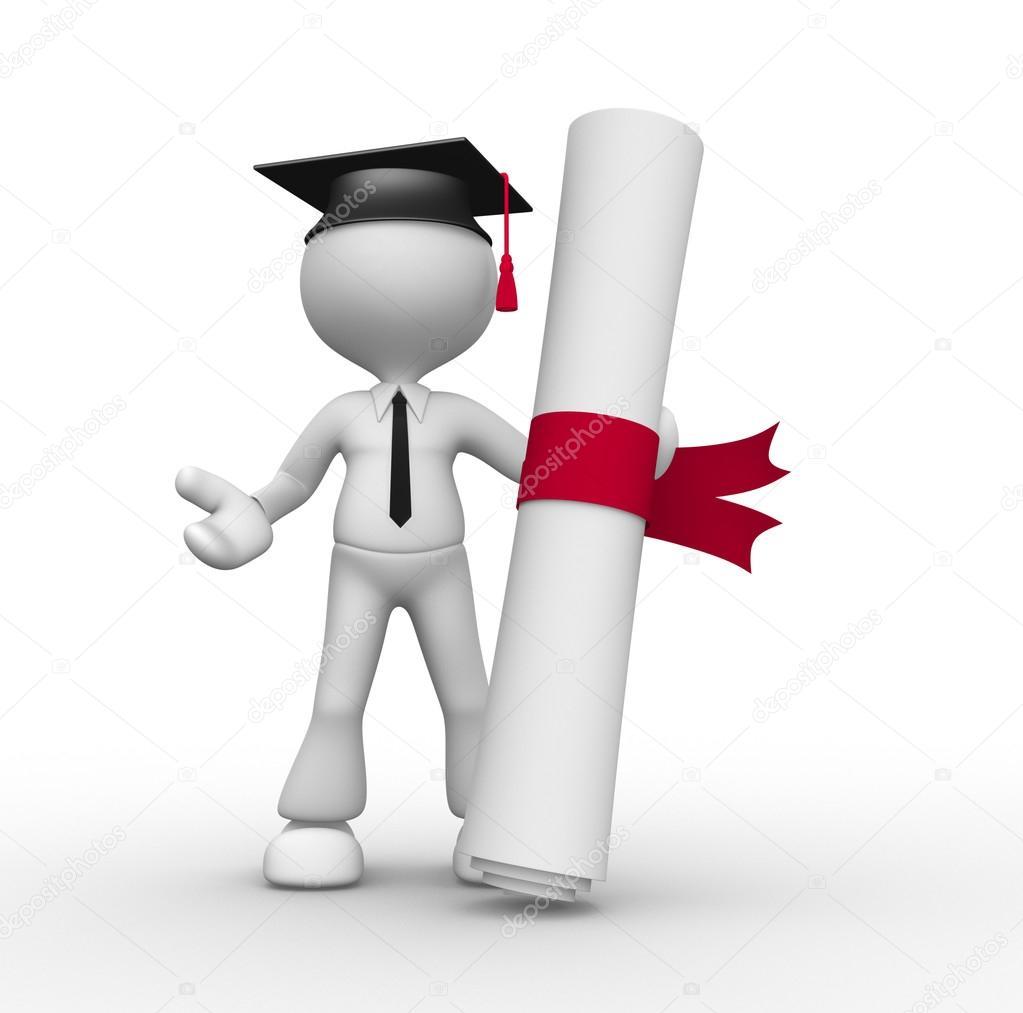 Человек с церемонией вручения дипломов и дипломом Стоковое фото  3 й отдают иллюстрацию человека с церемонией вручения дипломов и дипломом Фото автора orlaimagen