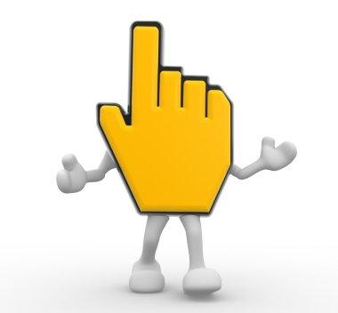 3d render illustration of yellow hand cursor stock vector
