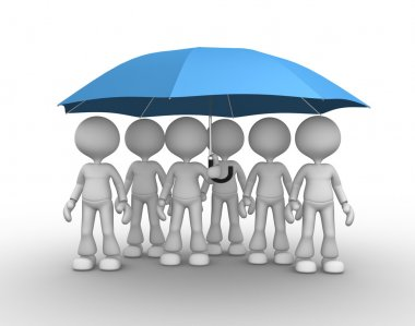 People under blue umbrella