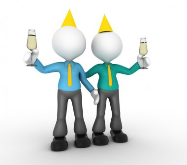 3d people - man, person a toast with a glass of champagne. Businessmen stock vector