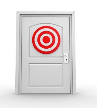 Closed door and target
