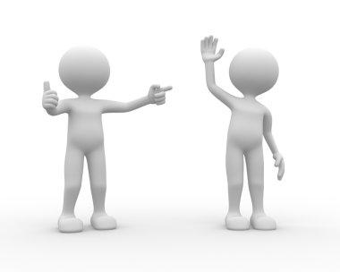Two people gesturing