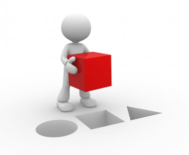 Person with red cube