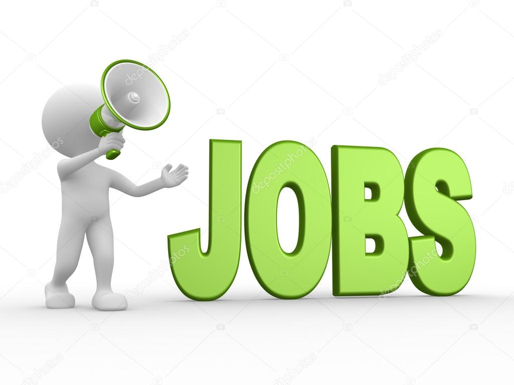 Person with megaphone and word Jobs