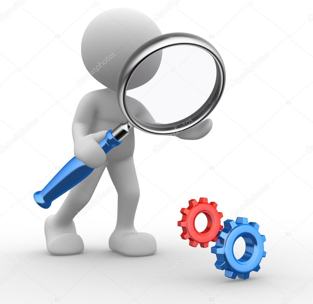 Uomo con una lente di ingrandimento e il meccanismo di - Specchio con lente di ingrandimento ...