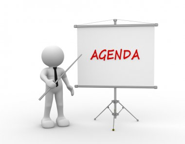 person and flipchart with Agenda word
