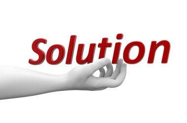 3d hand with word solution