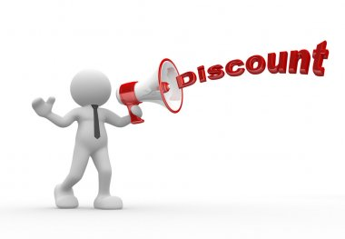 Person with a megaphone and word Discounts
