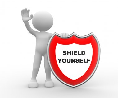 person with shield and text Shield yourself