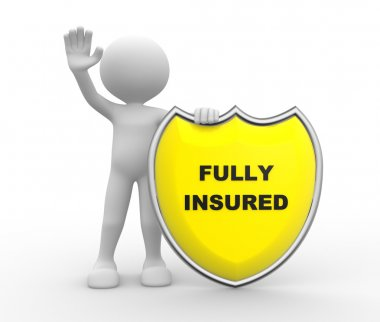 person with shield and text Fully Insured