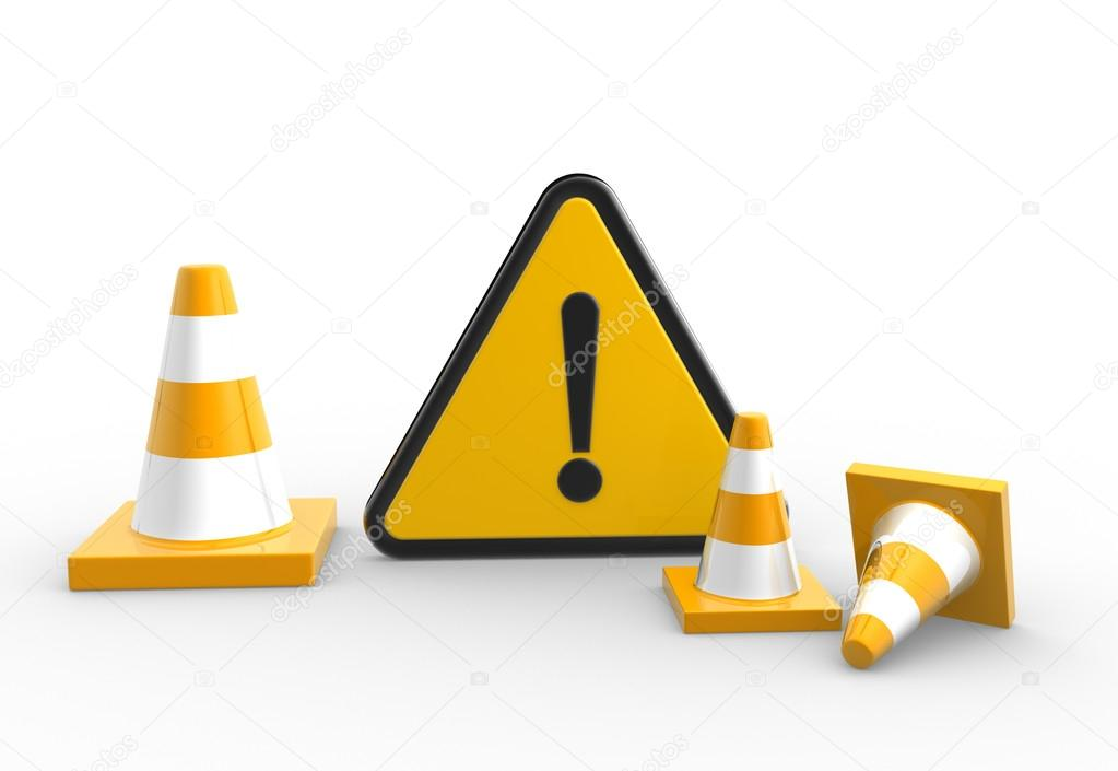 warning sign and traffic cones