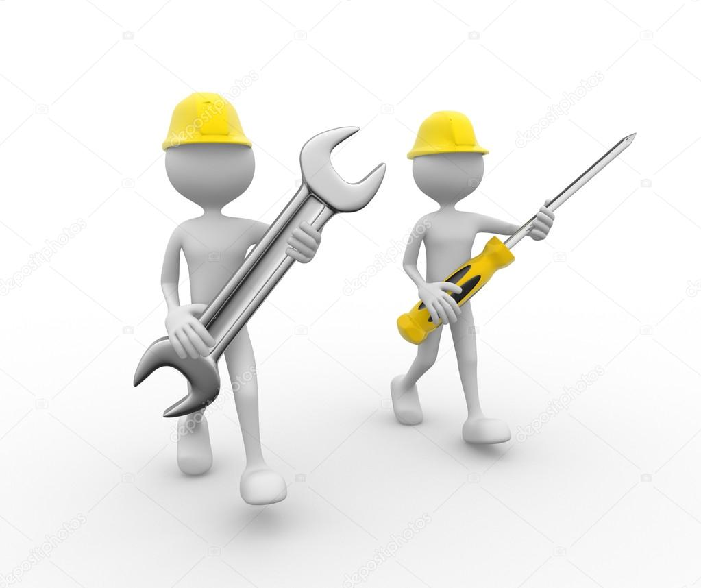 people with wrench and hammer