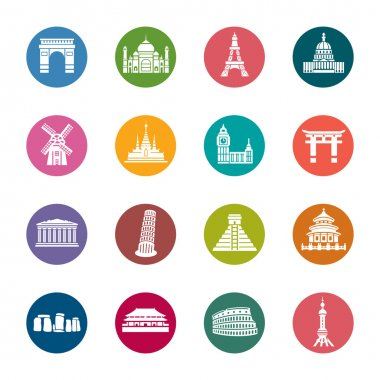 Famous Scenic Spots Color Icons