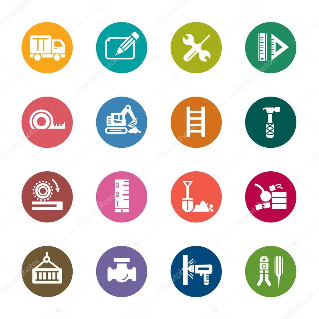 iconos de colores de construcción — Archivo Imágenes Vectoriales ...