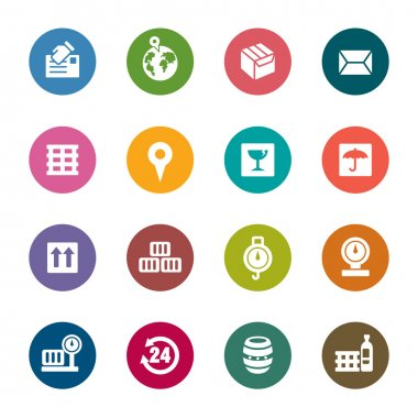 A collection of different kinds of logistics and transport color icons clip art vector