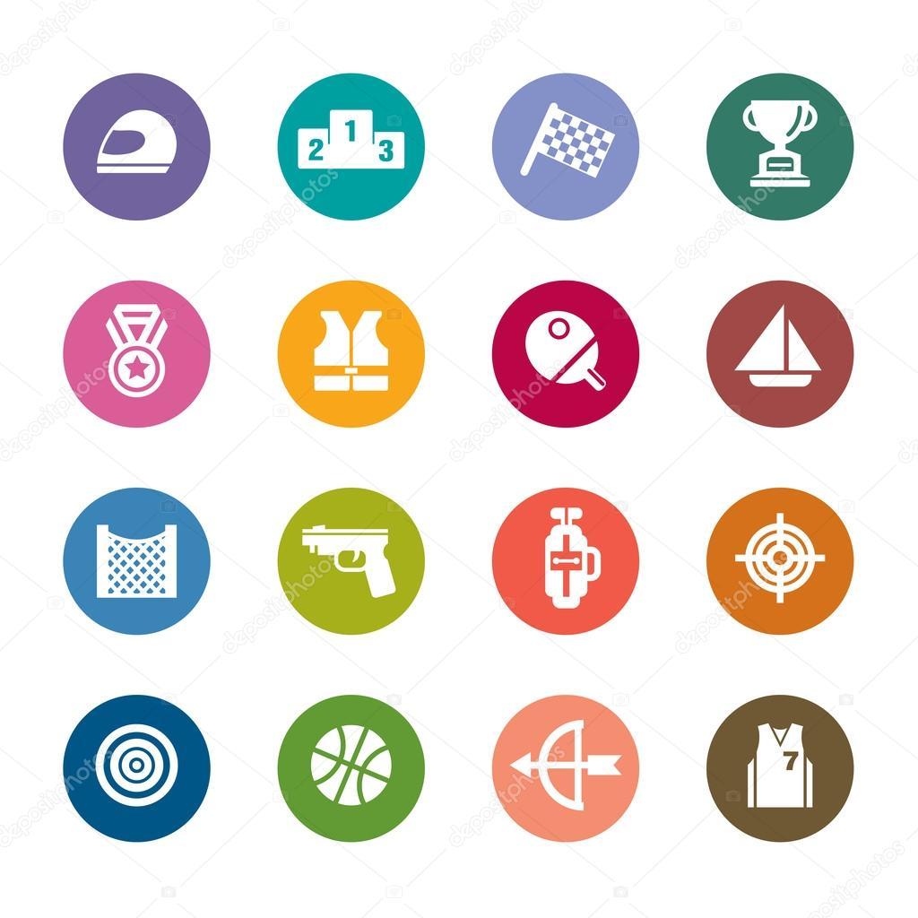 icônes de couleur pour le concours sport — Image vectorielle