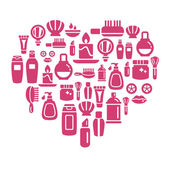 Photo Beauty and Cosmetic Icons in Heart Shape